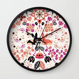 Bunny Lovers – Peach & Black Palette Wall Clock