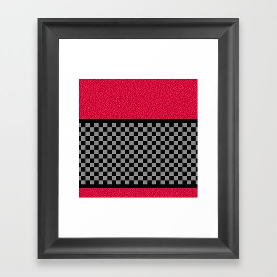 Checkered/Textured Red Framed Art Print