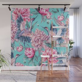 Teal peonies and birds Wall Mural