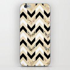 Black, White & Gold Glitter Herringbone Chevron on Nude Cream iPhone Skin