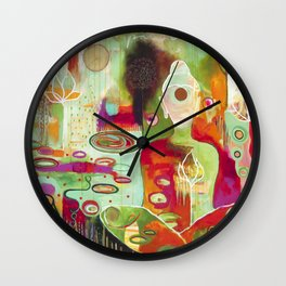 """Rooted In Love"" Original Painting by Flora Bowley Wall Clock"