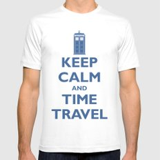 Keep Calm And Time Travel White SMALL Mens Fitted Tee