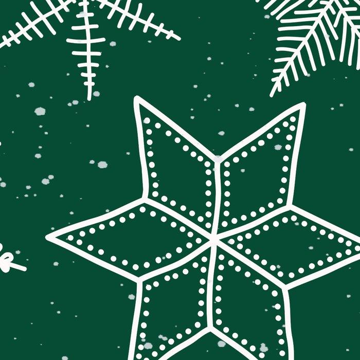 Snowflakes On Green Background Leggings