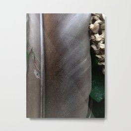 Grey Feather Metal Print