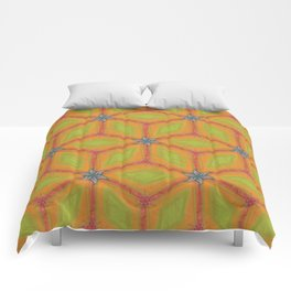 Green and Gold Tile Pattern Repeating Comforters