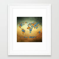 map Framed Art Prints featuring map by mark ashkenazi