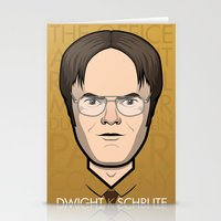 dwight schrute Stationery Cards featuring Dwight K Schrute - The Office by Mathieu Marcou
