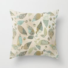Nostalgic Patchwork Autumn Leaf Pattern Teal Beige Throw Pillow