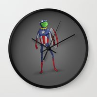 kermit Wall Clocks featuring Captain Kermit by Matthew Bartlett