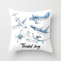 airplane Throw Pillows featuring airplane by Goga Alexandra