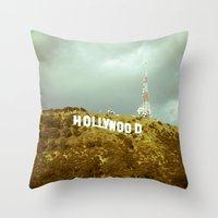 hollywood Throw Pillows featuring Hollywood by Umbrella Design