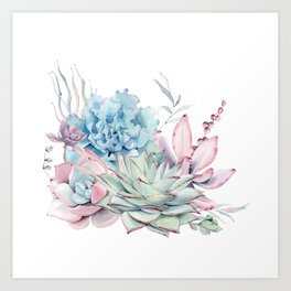 Pretty Pastel Succulents Art Print