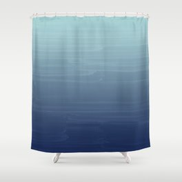 Light blue to navy painted gradient ombre Shower Curtain