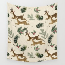 winter deer // repeat pattern Wall Tapestry