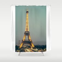 90s Shower Curtains featuring The 90s in Paris by MarioGuti