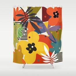 mid century minimal plant leaves Shower Curtain