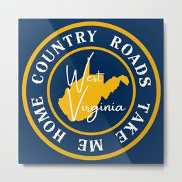 West Virginia Country Roads Take Me Home State Map WV Metal Print
