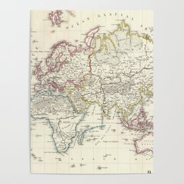 Vintage Map of The World (1816) Poster