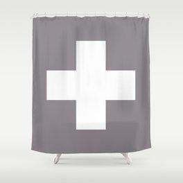 Swiss Cross Taupe Shower Curtain