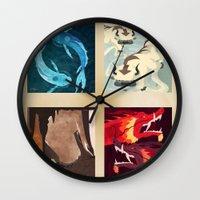 airbender Wall Clocks featuring Original Bending Masters Series by miss-meza