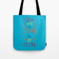 the cure Tote Bags featuring The Cure by Rendra Sy