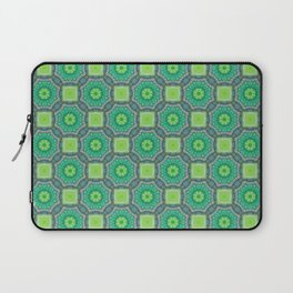 Octagon Kaleidoscope Flower in Green Turquoise and Gray Laptop Sleeve