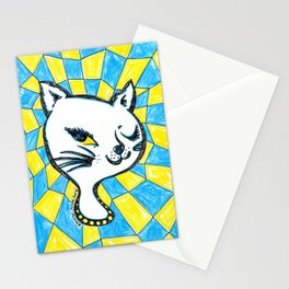 Winking Kitty Blue & Yellow Background Stationery Cards