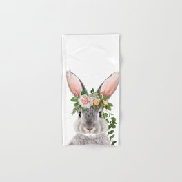 Baby Rabbit, Bunny With Flower Crown, Baby Animals Art Print By Synplus Hand & Bath Towel