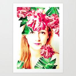 WOMAN WITH PEONY FLOWERS Art Print