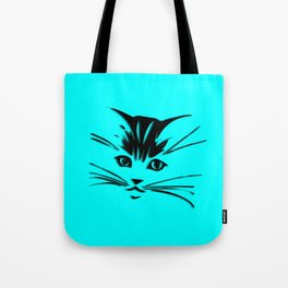 Aqua Kitty Cat Face Tote Bag