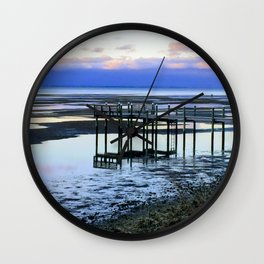 Dock at Low Tide Wall Clock