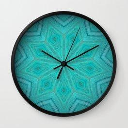 Caribbean Sea // Turquoise Blue Geometric Abstract Mandala Star Tropical Bright Vibrant Wall Clock