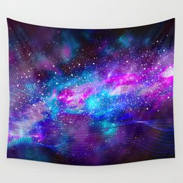 Abstract Nebula #16: Purple blue particles Wall Tapestry