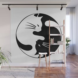 black and white cat yinyang Wall Mural