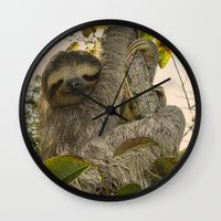 sloth Wall Clocks featuring Sloth by MehrFarbeimLeben