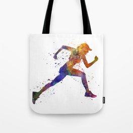 Woman runner jogger running Tote Bag