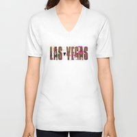 las vegas V-neck T-shirts featuring Las Vegas by Tonya Doughty