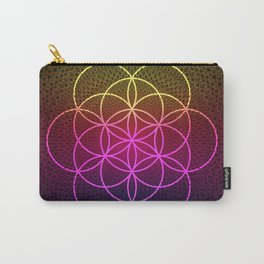 Sacred Rainbow Flower of Life Carry-All Pouch