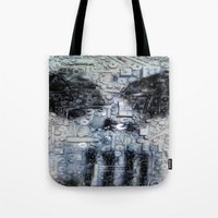punisher Tote Bags featuring THE PUNISHER by JANUARY FROST