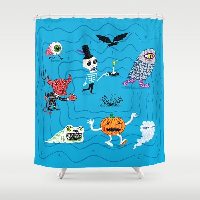 The Halloween Parade Shower Curtain by oliverlake