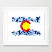 snowboard Framed Art Prints featuring Colorado snowboard style flag  by Artistic Attitude
