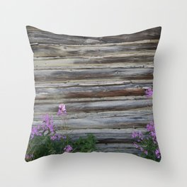 Cabin with Flowers Throw Pillow