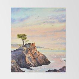 Pebble Beach Lone Cypress Tree Throw Blanket