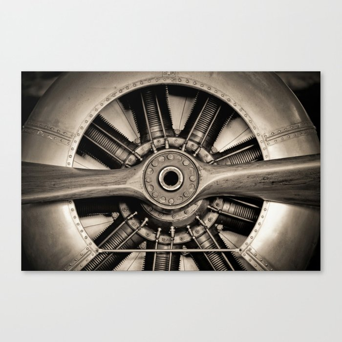 Aviation Decor Vintage Propeller Airplane Art Canvas Print By Vibrantimaging