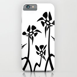 Five Abstract flowers black and white iPhone Case