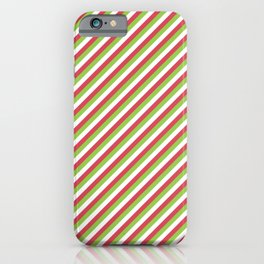 Red Green And White Stripe Christmas Pattern iPhone Case