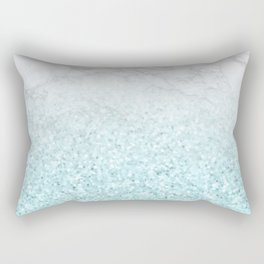 She Sparkles - Turquoise Sea Glitter Marble Rectangular Pillow