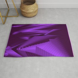 Diffuse landscap with stylised mountains, sea and violet Sun. Rug