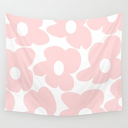 Large Baby Pink Retro Flowers on White Background #decor #society6 #buyart Wall Tapestry