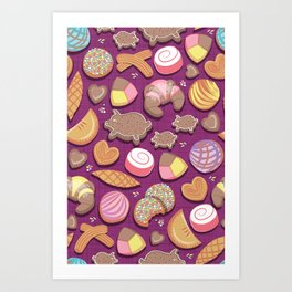 Mexican Sweet Bakery Frenzy // pink background // pastel colors pan dulce Art Print